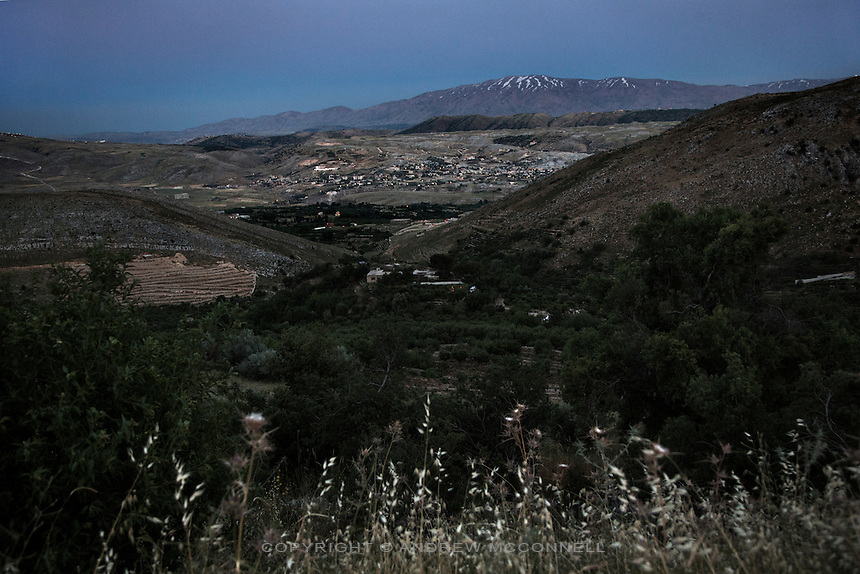 Lebanon's Bekka Valley looking towards Mount Hermon and the Syrian border, in Mashgara, Lebanon. The Bekaa Valley has long been a Hezbollah stronghold and in recent times has seen an huge influx of Syrian refugees from across the border, with tens of thousands settling in the towns and villages of the area.