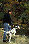 Dalmatian with his boy, creekside