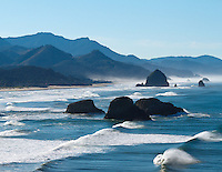 Gift card photo of view south at Ecola Point looking at Crescent Beach towards Cannon Beach, Oregon with rolling waves on the ocean on a blue sky day.