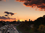Sunset scenery of commute traffic at the Gardiner Expressway in Toronto, Ontario, Canada.