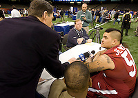 Jesse Williams of Alabama talks with the reporters during BCS Media Day at Mercedes-Benz Superdome in New Orleans, Louisiana on January 6th, 2012.