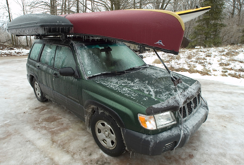 A Subaru Forester carrying a canoe and sea kayak is seen after being caught in a January ice storm in Wisconsin during a trip to the Everglades in South Florida.