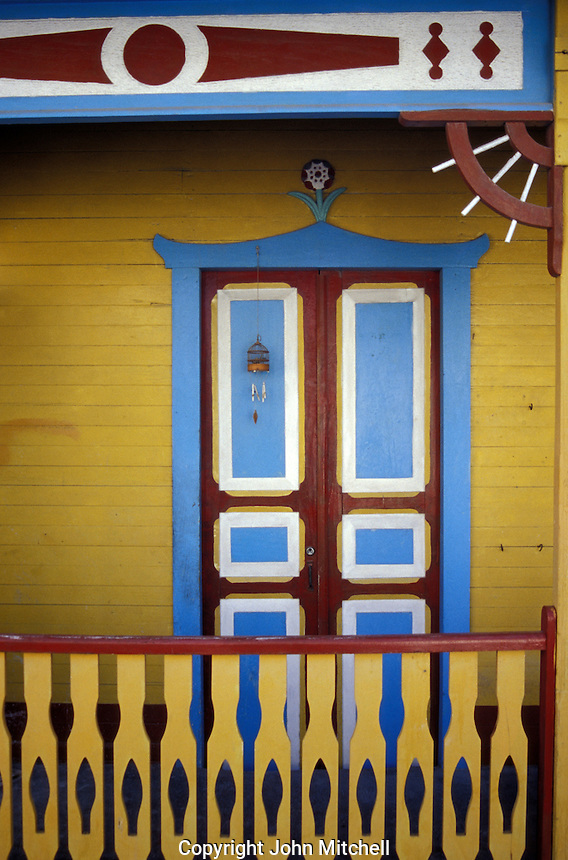 Door of restored Caribbean-style wooden house on Isla Mujeres, Quintana Roo, Mexico