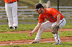 PLYMOUTH, CT-042017JS06- Watertown's Alex Burr (9) bare hands a ground ball during their game against Terryville  Thursday at Terryville High School in Plymouth. <br /> Jim Shannon Republican-American
