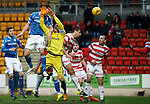 St Johnstone v Hamilton Accies....016.01.16  SPFL  McDiarmid Park, Perth<br /> Graham Cummins header comes off keeper Michael McGovern and gies behind<br /> Picture by Graeme Hart.<br /> Copyright Perthshire Picture Agency<br /> Tel: 01738 623350  Mobile: 07990 594431