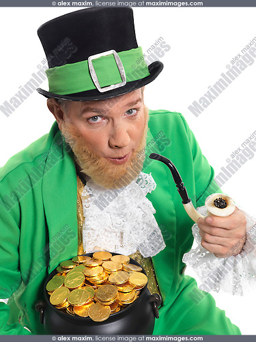 Leprechaun in bright green clothes holding a smoking pipe and pot full of gold