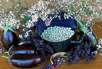 Purple harvest of dried beans and eggplant, chard,