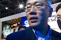 NEW YORK, NY - APRIL 12: Chung Eui Sun, vice chairman of Hyundai Motor Co. attends the show of the new Hyundai 2018 Sonata at the New York International Auto Show, at the Jacob K. Javits Convention Center on April 12, 2017 in Manhattan, New York. Photo by VIEWpress/Eduardo MunozAlvarez