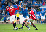 St Johnstone Academy v Manchester Utd Academy&hellip;.06.05.16  McDiarmid Park, Perth<br />Shaun Struthers gets between Tede Membuene James Garner<br />Picture by Graeme Hart.<br />Copyright Perthshire Picture Agency<br />Tel: 01738 623350  Mobile: 07990 594431