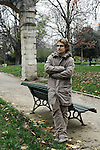 PARIS, FRANCE. NOVEMBER 22, 2010. French actor and writer Lorant Deutsch at the Parc Monceau, close to his home in the 17th arrondissement. Behind him stands a Renaissance arcade that have been put here after a big fire in 1871. (photo: Antoine Doyen)