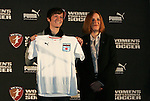 16 January 2009: Megan Rapinoe, with WPS Commissioner Tonya Antonucci, was taken by the Chicago Red Stars with the second overall pick. The 2009 inaugural Womens Pro Soccer (WPS) Draft was held at the Convention Center in St. Louis, Missouri in conjuction with the National Soccer Coaches Association of America's annual convention.