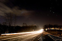 Night shot of Linden Road in Linden, Michigan.  Close to Clover Beach.