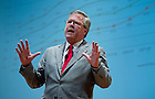 September 26, 2011; Jeb Bush, Florida's former governor and founder of the Foundation for Excellence in Education, speaks at Leighton Concert Hall as part of the 2011-2011 Notre Dame Forum. Photo by Barbara Johnston/University of Notre Dame