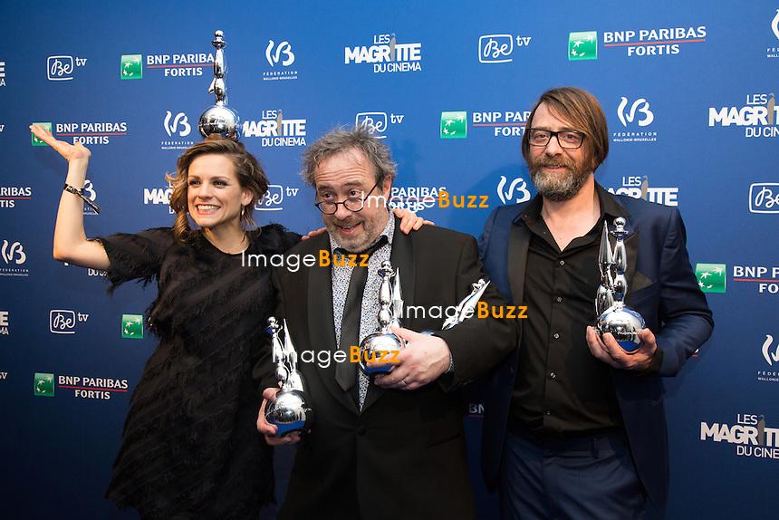 Veerle Baetens ( Meilleure actrice ) Jaco Van Dormael ( &quot;Le tout nouveau testament&quot; a &eacute;t&eacute; r&eacute;compens&eacute; par quatre Magritte: meilleur film, meilleur r&eacute;alisateur, meilleur sc&eacute;nario original et meilleure musique originale ) &amp; Wim Wilaert ( Meilleur acteur )  - Sixi&egrave;me c&eacute;r&eacute;monie des Magritte du cin&eacute;ma, qui r&eacute;compensent le septi&egrave;me art belge, au Square, &agrave; Bruxelles.<br /> Belgique, Bruxelles, 6 f&eacute;vrier 2016.<br /> Sixth edition of the Magritte du Cinema awards in Brussels.<br /> Belgium, Brussels, 7 February 2016