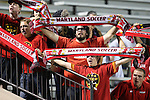 12 October 2012: Maryland fans, known as The Crew, traveled to the game to support their team. The University of Maryland Terrapins defeated the Duke University Blue Devils 2-1 at Koskinen Stadium in Durham, North Carolina in a 2012 NCAA Division I Men's Soccer game.