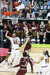 DALLAS, TX - APRIL 2: Tyasha Harris #52 of the South Carolina Gamecocks is found while attempting a layup State University takes on the University of South Carolina during the 2017 Women's Final Four at American Airlines Center on April 2, 2017 in Dallas, Texas. (Photo by Timothy Nwachukwu/NCAA Photos via Getty Images)