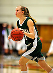 5 December 2009: Manhattan College Jaspers' guard Alyssa Herrington, a Sophomore from Cambridge, NY, in action against the University of Vermont Catamounts at Patrick Gymnasium in Burlington, Vermont. The Catamounts defeated the visiting Jaspers 78-59 to mark the Lady Cats' second home win of the season. Mandatory Credit: Ed Wolfstein Photo