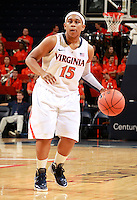 CHARLOTTESVILLE, VA- December 7: Ariana Moorer #15 of the Virginia Cavaliers handles the ball during the game against the Liberty Lady Flames on December 7, 2011 at the John Paul Jones arena in Charlottesville, Va. Virginia defeated Liberty 64-38. (Photo by Andrew Shurtleff/Getty Images) *** Local Caption *** Ariana Moorer