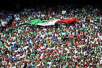 Mexico (MEX) fans unfurl a flag. Mexico (MEX) defeated the United States (USA) 5-0 during the finals of the CONCACAF Gold Cup at Giants Stadium in East Rutherford, NJ, on July 26, 2009.