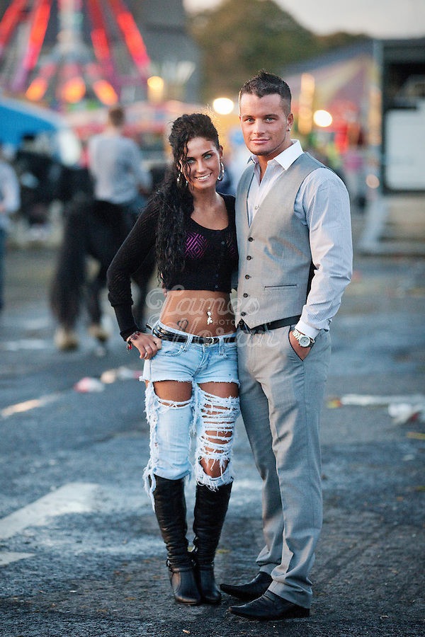 3/10/2010.  Traveller's Angela Quinlan aged 17 from Newcastle West County Limerick and her boyfriend Michael Crumlish aged 18 from Derry are pictured at the Ballinasloe Horse Fair, Ballinasloe, County Galway, Ireland. Picture James Horan