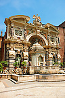 The Organ fountain, 1566, housing organ pipies driven by air from the fountains. Villa d'Este, Tivoli, Italy - Unesco World Heritage Site.
