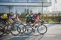race leaders Greg Van Avermaet (BEL/BMC), Philippe Gilbert (BEL/Quick Step floors) &amp; Oliver Naesen (BEL/AG2R-LaMondiale) on their way to the finish<br /> <br /> 60th E3 Harelbeke (1.UWT)<br /> 1day race: Harelbeke &rsaquo; Harelbeke - BEL (206km)