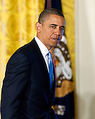 United States President Barack Obama departs the East Room of the White House in Washington, D.C. following his remarks calling on Congress to return powers that would allow him to reform Executive Branch agencies of the U.S. Government on Friday, January 13, 2012..Credit: Ron Sachs / CNP