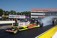 May 14, 2016; Commerce, GA, USA; NHRA top fuel driver J.R. Todd during qualifying for the Southern Nationals at Atlanta Dragway. Mandatory Credit: Mark J. Rebilas-USA TODAY Sports