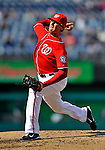 2 April 2011: Washington Nationals pitcher Tyler Clippard in action against the Atlanta Braves at Nationals Park in Washington, District of Columbia. The Nationals defeated the Braves 6-3 in the second game of their season opening series. Mandatory Credit: Ed Wolfstein Photo