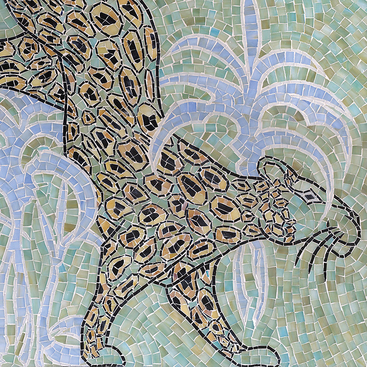 Leopard, a handcut jewel glass mosaic, is shown in  Chalcedony, Aquamarine, Quartz, Agate, Obsidian<br />