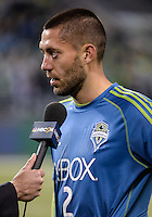 November, 2013: CenturyLink Field, Seattle, Washington:  Seattle Sounders FC forward Clint Dempsey (2) being interviewed as the Portland Timbers defeat  the Seattle Sounders FC 2-1 in the Major League Soccer Playoffs semifinals Round.