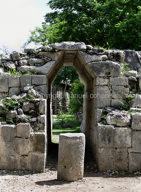 Doorway, Temple of sculpted panels and lintel, 750-900 AD, Chichen Itza, Yucatan, Mexico. Picture by Manuel Cohen