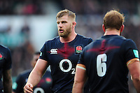 George Kruis of England looks on during a break in play. Old Mutual Wealth Series International match between England and Argentina on November 26, 2016 at Twickenham Stadium in London, England. Photo by: Patrick Khachfe / Onside Images