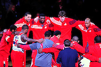 The Wizards have a team huddle prior to tip-off against Miami at the Verizon Center in Washington, D.C. on Friday, February 10, 2012. Alan P. Santos/DC Sports Box