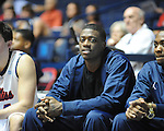 "Ole Miss' Reggie Buckner watches from the bench vs. Grambling State during the second half at the C.M. ""Tad"" Smith Coliseum in Oxford, Miss. on Monday, November 14, 2011.."