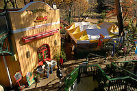The museum cafe is built around a large red pine (in the top right of the picture). The Ghibli Museum in Mitaka, western Tokyo opened in 2001. It was designed by animator Miyazaki Hayao and receives around 650,500 visitors each year.