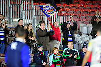 Bath Rugby fans in the crowd show their support after the match. Aviva Premiership match, between Harlequins and Bath Rugby on November 27, 2016 at the Twickenham Stoop in London, England. Photo by: Patrick Khachfe / Onside Images