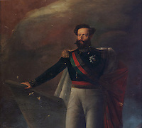Portrait of King Peter I of Brazil or Pedro I do Brasil, also King Peter IV of Portugal or Pedro IV de Portugal, 1798-1834, who reigned in Brazil 1822-31 and in Portugal in 1826, in the Great Room of Acts, or Sala dos Capelos, or Red Room, decorated in the 17th century by master builder Antonio Tavares and reworked in the 18th century, at the University of Coimbra in the royal palace or Paco Real, Coimbra, Portugal. The University of Coimbra was first founded in 1290 and moved to Coimbra in 1308 and to the royal palace in 1537. The buildings are listed as a historic monument and a UNESCO World Heritage Site. Picture by Manuel Cohen