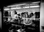 Looking out of commuter train window, Shanghai, China.