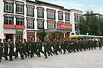Chinese military exercise on the streets of Shigatse, Tibet. 8/8/05.