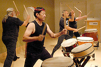 Members of  the Los Angeles Taiko Center perform at the Santa Monica Library on Monday, July 18, 2011..