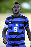 14 September 2012: Duke's Sebastien Ibeagha. The Duke University Blue Devils defeated the Clemson University Tigers 2-0 at Koskinen Stadium in Durham, North Carolina in a 2012 NCAA Division I Men's Soccer game.