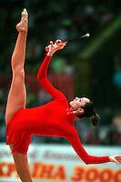 "Anna Bessonova of Ukraine balances with clubs at 2008 World Cup Kiev, ""Deriugina Cup"" in Kiev, Ukraine on March 23, 2008."
