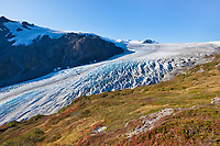 Exit glacier flows out of the Harding Ice Field, Kenai Fjords National Park, Kenai mountains, Kenai Peninsula, southcentral, Alaska.