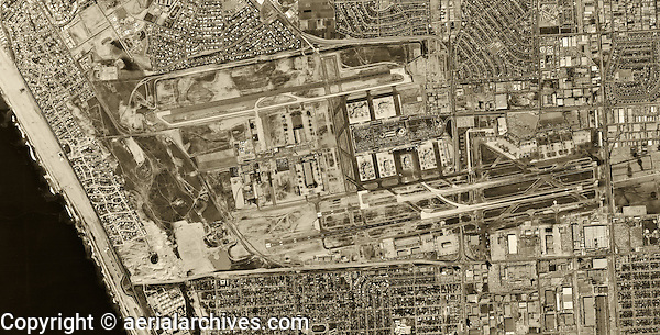 historical aerial photograph Los Angeles International Airport, LAX, 1963