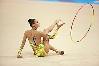August 23, 2008; Beijing, China; Rhythmic gymnast Aliya Yussupova of Kazakhstan performs with hoop on way to placing 5th in the All-Around final at 2008 Beijing Olympics..