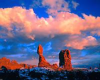 Sunset Clouds at Balanced Rock, Arches National Park, Utah