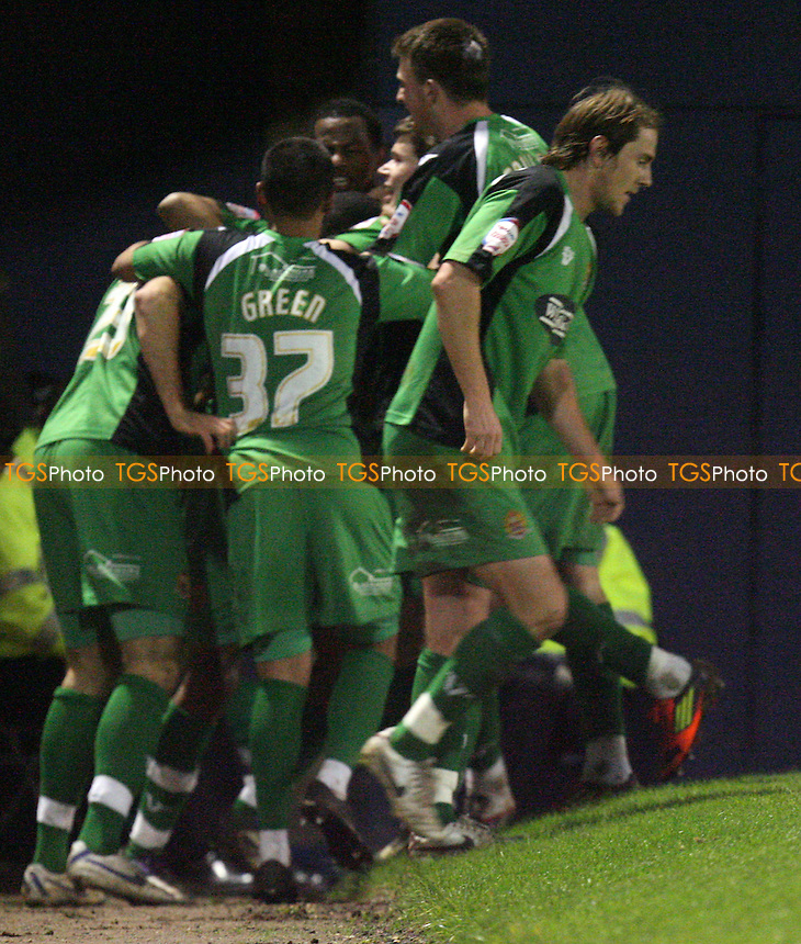 Dagenham players celebrate Brian Woodalls equalsing goal - Southend vs Dagenham - at the Roots Hall Stadium - 02/01/12 - MANDATORY CREDIT: Dave Simpson/TGSPHOTO - Self billing applies where appropriate - 0845 094 6026 - contact@tgsphoto.co.uk - NO UNPAID USE.