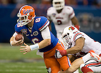 Louisville defensive end Marcus Smith sacks Florida quarterback Jeff Driskel during 79th Sugar Bowl game at Mercedes-Benz Superdome in New Orleans, Louisiana on January 2nd, 2013.   Louisville Cardinals defeated Florida Gators, 33-23.