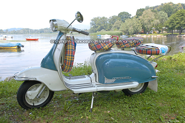 Vintage Scooter On A Lake Shore Vincenzo Bruni Photography